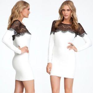 Bebe White Long Sleeve Black Eyelash Lace Dress